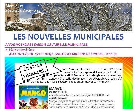 Newsletter de la mairie de Sévérac d'Aveyron de mars 2019
