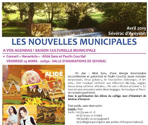 Newsletter de la mairie de Sévérac d'Aveyron de avril 2019