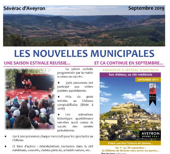 Newsletter de la mairie de Sévérac d'Aveyron de septembre 2019