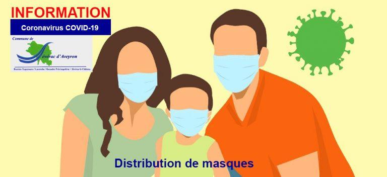 info coronavirus covid-19. distribution de masques Sévérac d'Aveyron