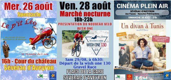 animation de la commune de Sévérac d'Aveyron du 24 au 30 août 2020