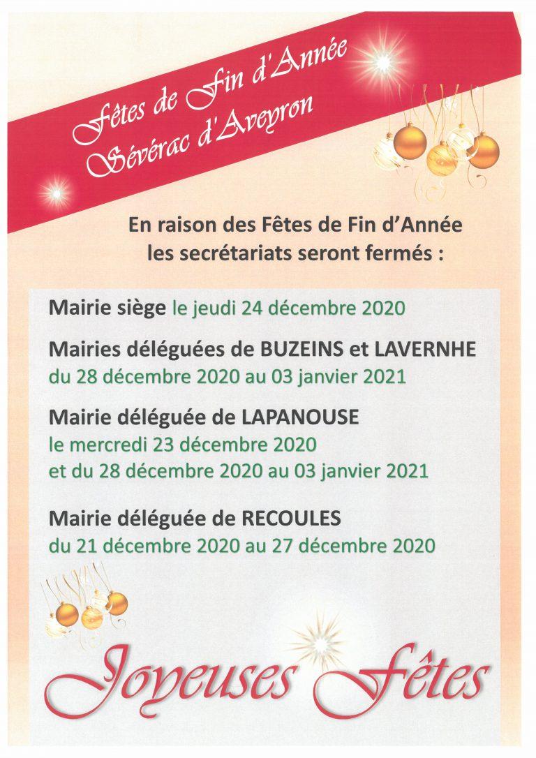 fermeture des mairies de Sévérac d'Aveyron